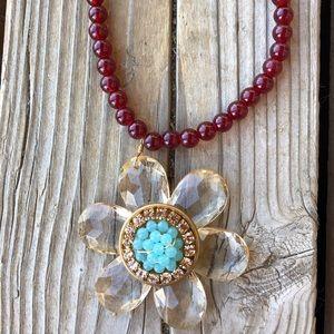 Anthropologie Lenora Dame Crystal Flower Necklace!